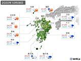 2020年10月08日の九州地方の実況天気
