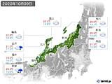 2020年10月09日の北陸地方の実況天気