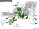 2020年10月09日の東海地方の実況天気