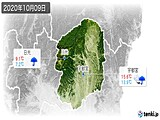 2020年10月09日の栃木県の実況天気