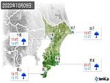 2020年10月09日の千葉県の実況天気