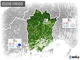 2020年10月09日の岡山県の実況天気