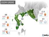 2020年10月09日の道南の実況天気
