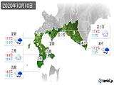 2020年10月10日の道南の実況天気
