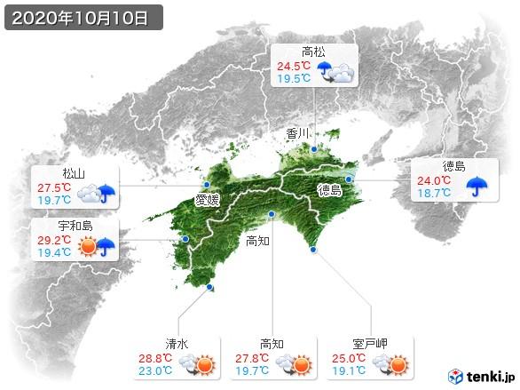 四国地方(2020年10月10日の天気