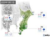 2020年10月11日の千葉県の実況天気