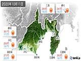 2020年10月11日の静岡県の実況天気