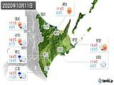2020年10月11日の道東の実況天気