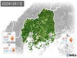 2020年10月11日の広島県の実況天気