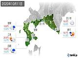 2020年10月11日の道南の実況天気