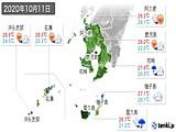 2020年10月11日の鹿児島県の実況天気