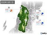 2020年10月11日の山形県の実況天気