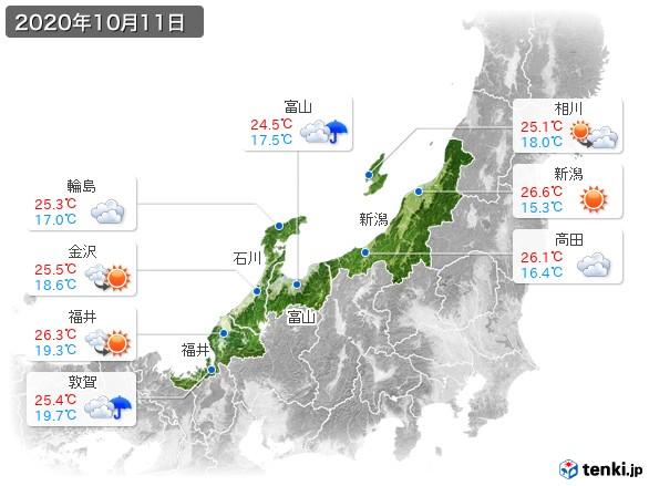 北陸地方(2020年10月11日の天気