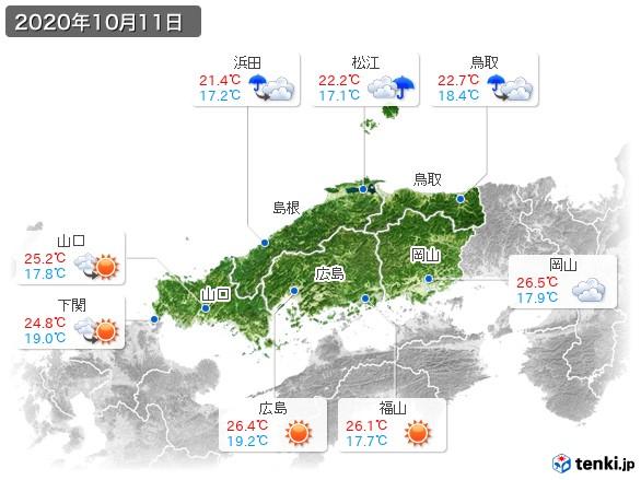 中国地方(2020年10月11日の天気