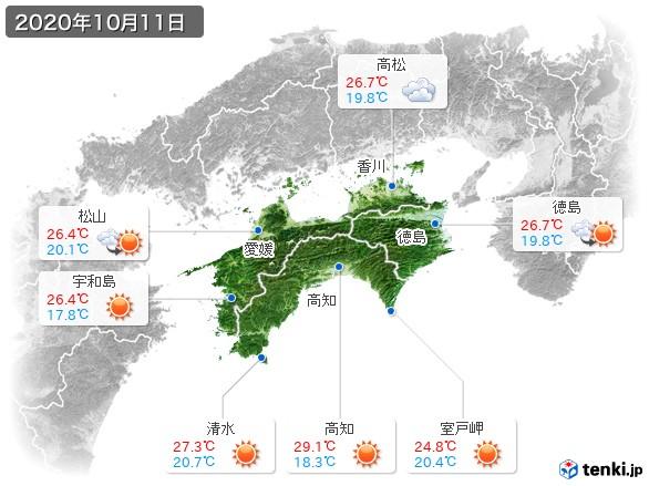 四国地方(2020年10月11日の天気