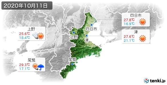 三重県(2020年10月11日の天気