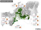 2020年10月12日の東海地方の実況天気