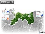 2020年10月12日の鳥取県の実況天気