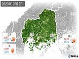 2020年10月12日の広島県の実況天気