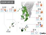 2020年10月12日の鹿児島県の実況天気