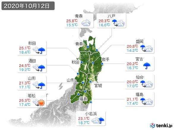 東北地方(2020年10月12日の天気