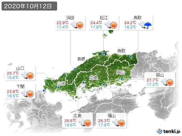 中国地方(2020年10月12日の天気