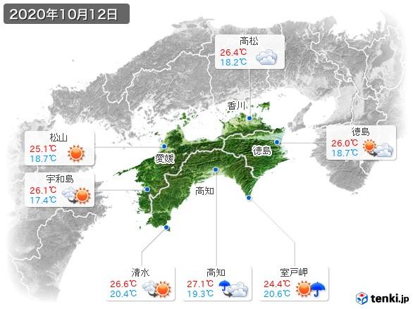 四国地方(2020年10月12日の天気