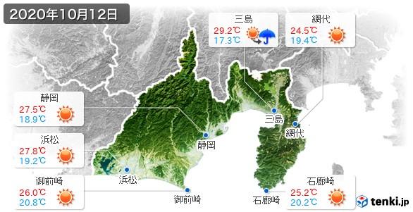 静岡県(2020年10月12日の天気