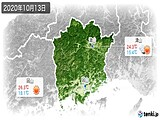 2020年10月13日の岡山県の実況天気