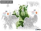 2020年10月13日の福岡県の実況天気