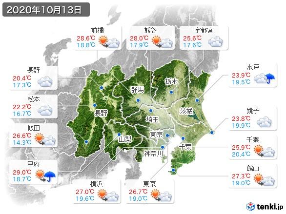 関東・甲信地方(2020年10月13日の天気