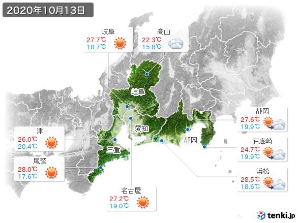 東海地方(2020年10月13日の天気