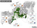 2020年10月14日の東海地方の実況天気