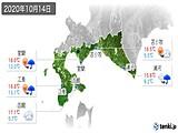 2020年10月14日の道南の実況天気