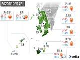 2020年10月14日の鹿児島県の実況天気