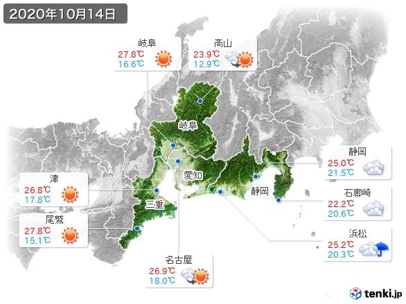 東海地方(2020年10月14日の天気