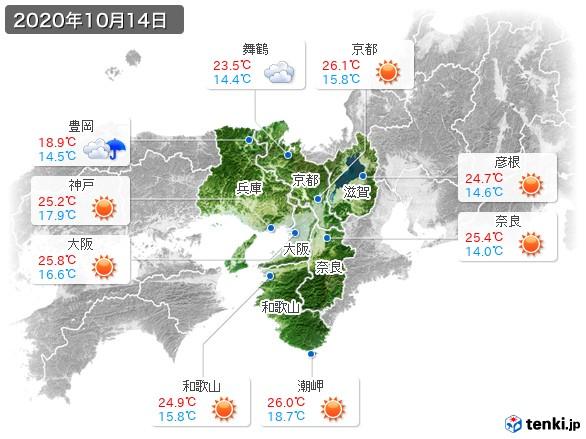近畿地方(2020年10月14日の天気