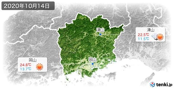 岡山県(2020年10月14日の天気