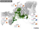 2020年10月15日の東海地方の実況天気