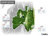 2020年10月16日の福島県の実況天気
