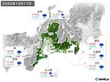 2020年10月17日の東海地方の実況天気
