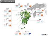 2020年10月18日の九州地方の実況天気
