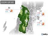 2020年10月18日の山形県の実況天気