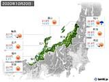 2020年10月20日の北陸地方の実況天気