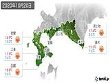 2020年10月20日の道南の実況天気