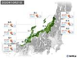 2020年10月21日の北陸地方の実況天気