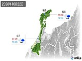 2020年10月22日の石川県の実況天気