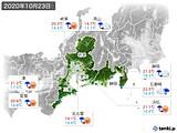 2020年10月23日の東海地方の実況天気