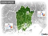 2020年10月23日の岡山県の実況天気