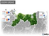 2020年10月24日の鳥取県の実況天気